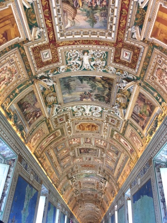 The ceiling on the way to the Sistine Chapel